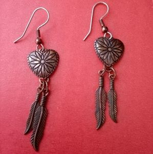 Heart with feather design copper marked earrings